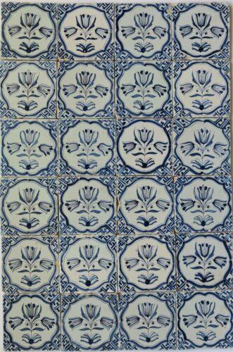 24 Original Antique Delft delftware tile tiles carreaux with tulip tulips ,1625.