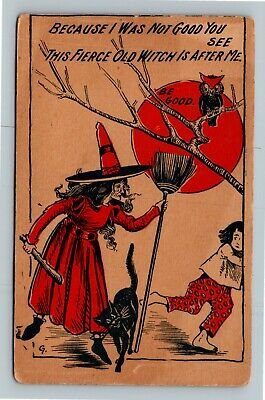 HALLOWEEN Vintage Postcard Witch Fearful Child Owl Red Moon Black Cat Broom