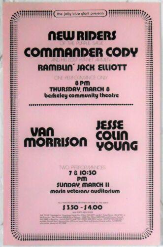 Van Morrison Jesse Colin Young NRPS Commander Cody Berkeley Marin Concert Poster