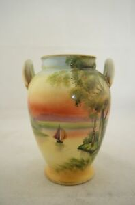 Antique Japanese signed Noritake hand painted Sailboat sunset scene vase