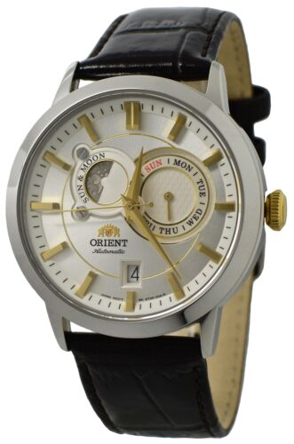 Orient Sun And Moon FET0P004W0 Silver Dial Dark Brown Leather Band Men's Watch