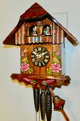 ***Musical Hand Painted  Swiss Chalet Black Forest Germany Cuckoo Clock***