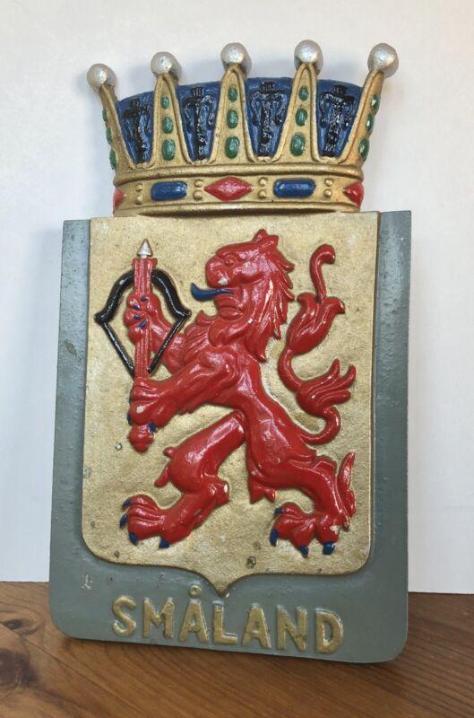 "Vintage Smaland Sweden Metal Wall Plaque Coat of Arms Rampant Lion 10 1/2"""