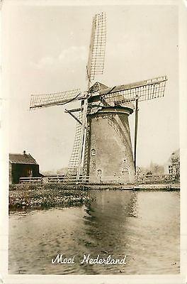 Netherlands (Nederland), Mooi, Windmill Real Photo Postcard