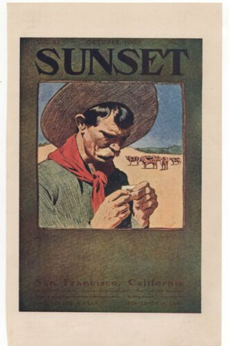 1905 Sunset Magazine Color Advertising Flier of Cowboy rolling Cigarette