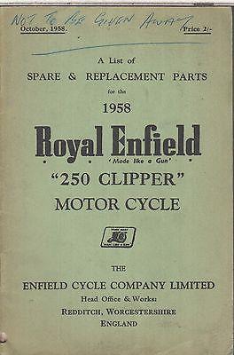 ROYAL ENFIELD 250 CLIPPER ORIGINAL 1958 FACTORY ILLUSTRATED PARTS CATALOGUE