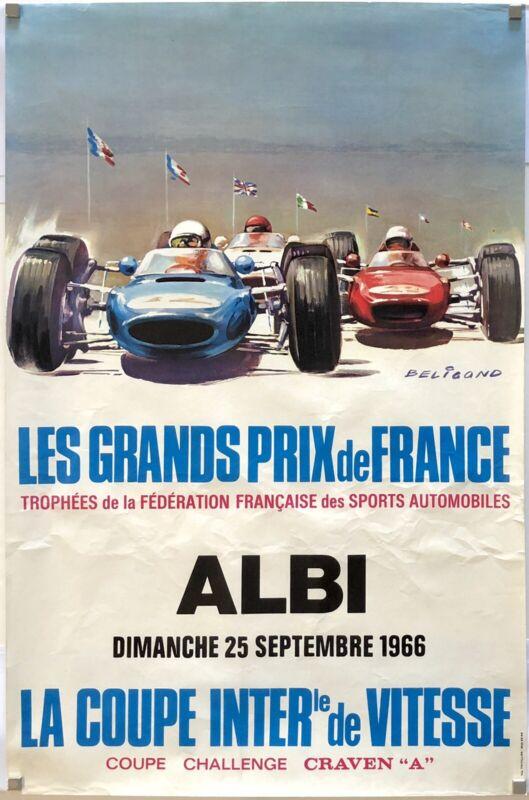 Original Vintage Poster GRAND PRIX DE FRANCE ALBI 1966 CRAVEN CUP Auto Racing