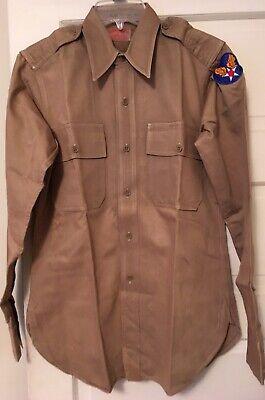 1940s Men's Shirts, Sweaters, Vests 1940s WW 2 Vintage Mens Regulation Military Shirt Form Fit Sanforized By Yale $90.00 AT vintagedancer.com