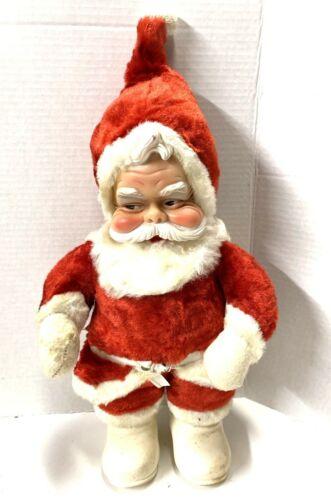 "Vintage The Rushton Company Atlanta Ga Santa Doll Rubber Face Stamped 16"" Tall"