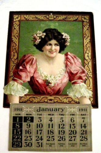 Lovely Vintage Large Die Cut Sample Calendar w/ Stunning Woman & Soft Dress *