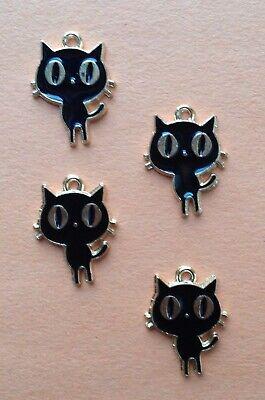 BIG EYES ENAMEL BLACK CAT CHARMS - HALLOWEEN, JEWELRY, CRAFTS -- 18mm -- 4pcs](Halloween Big Eyes)