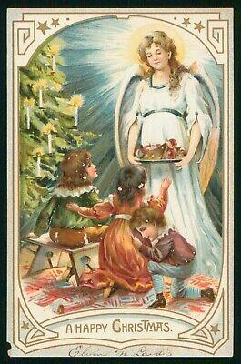 Mayfairstamps Angel & Children Merry Christmas Postcard wwp2443