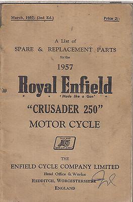 ROYAL ENFIELD CRUSADER 250 ORIGINAL 1957 FACTORY ILLUSTRATED PARTS CATALOGUE