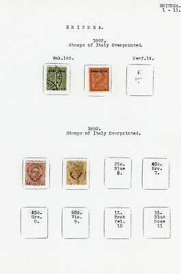 EXCELLENT EARLY ITALIAN ERITREA COLLECTION ON 12 ALBUM PAGES (1892-1935)
