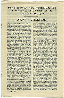 Winston S  Churchill   Navy Estimates Given In The House Of Commons  Feb 27 1940