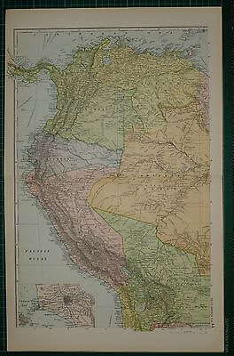 1905 ANTIQUE MAP ~ SOUTH AMERICA NORTH WEST ECUADOR PERU BRAZIL LIMA PLAN