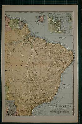 1905 ANTIQUE MAP ~ SOUTH AMERICA NORTH EAST ~ BRAZIL RIO DE JANEIRO TRINIDAD