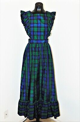 80s Dresses | Casual to Party Dresses Vintage 1980s Blue & Green Plaid Ruffled Apron Dress in sz S $35.00 AT vintagedancer.com