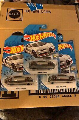 Hot Wheels '16 Bugatti Chiron ZAMAC Walmart Exclusive Lot of 3