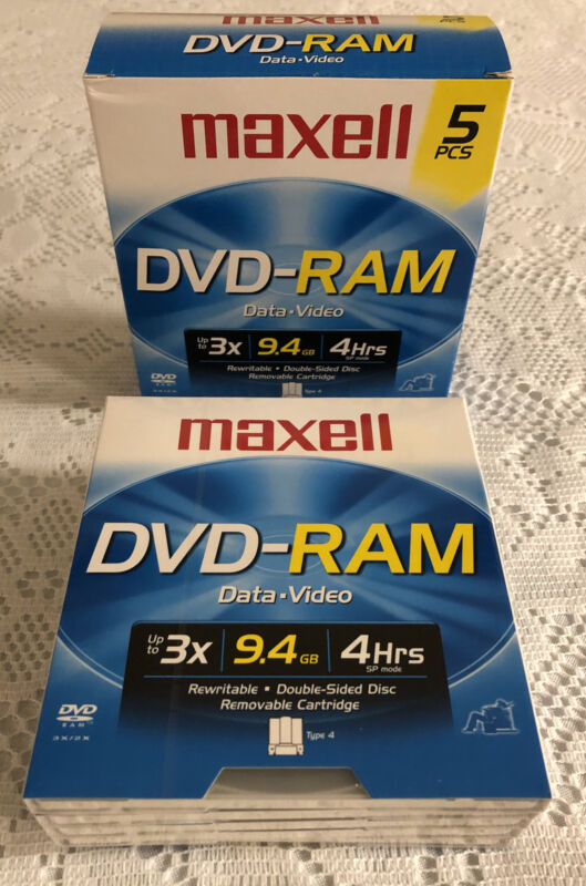 MAXELL 5 PACK DVD-RAM 9.4GB Data Video Rewritable Double Sided Discs