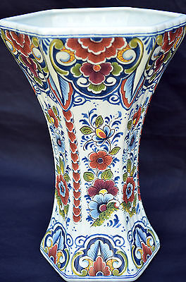 "VINTAGE DELFT HOLLAND MULTI COLOR 10"" VASE SIGNED"