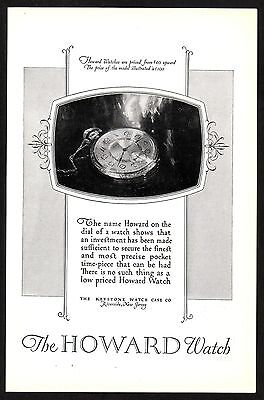 1920s Original Vintage Keystone Howard Pocket Watch Print Ad c