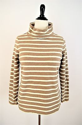 LANDS' END Striped Ivory White Brown Funnel Neck Knit SHIRT TOP M Petite 10 -