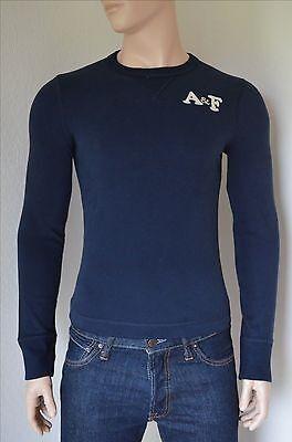 NEW Abercrombie & Fitch Johns Brook Crew Sweatshirt Tee Navy Blue S...