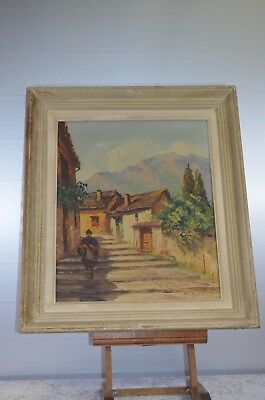 ANTIQUE PAINTING FRAME WOOD PAINTING ON CANVAS VILLAGE PROVENCE