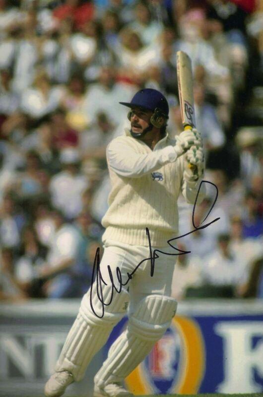 Allan Lamb Signed 12X8 Photo England Cricket Legend AFTAL COA (2633)
