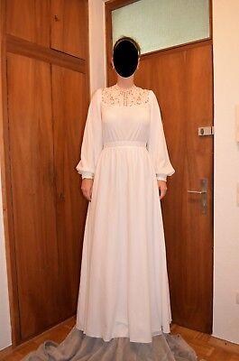 Brautkleid Hochzeitskleid Antique 80er Spitze Glitzer weiß in 40 42 - RAR ! ! !