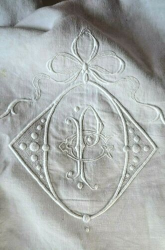 Antique French pure linen trousseau sheet, PC white work monogram, lozenge, bow