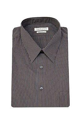 Van Heusen Regular Fit Espresso Brown Striped Cotton Blend Dress Shirt