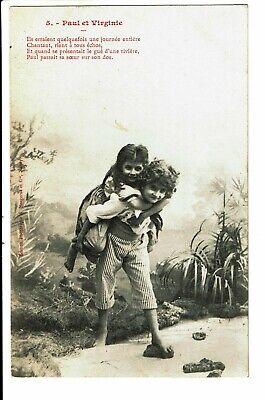 CPA-Carte postale Belgique-Paul et Virginie-Un garçon portant une fillette-1903