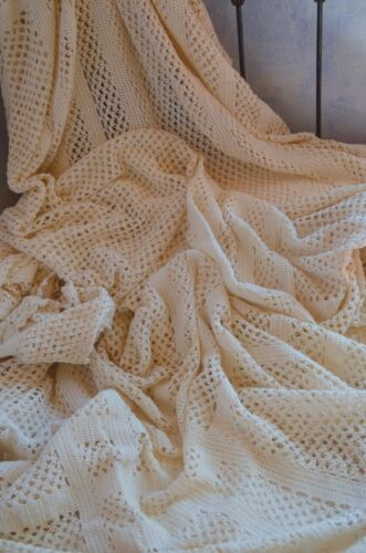 Vintage French pure cotton hand knitted bed cover, cream