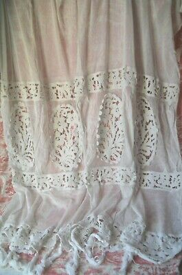 shabby chic Beautiful set of white vintage net lace curtains elegant leaf design and so soft to the touch- each 54 x 80 romantic