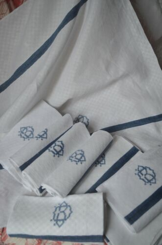 6 antique French pure linen diamond weave napkins, blue DB monograms and stripes