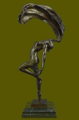 HandcraftedArt Deco Flag Dancer Bronze Sculpture Marble Statue Figurine Gift