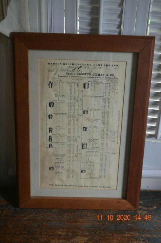RARE Framed Hudson River Pottery Stoneware Receipt Dated 1871 AAFA