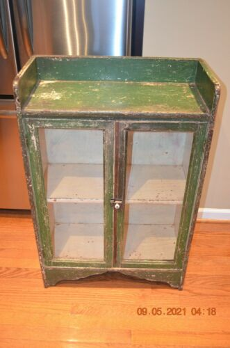 EARLY Lancaster P.A. found Glass Doors PaintedCabinet 19th C AAFA  CHERRY WOOD ?
