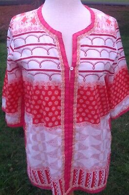 Le Sirenuse Womens Abstract Print Tunic Blouse Red White Cotton Size EUR 44 NWOT