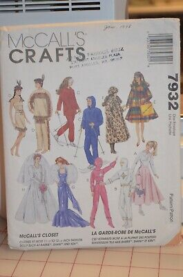 Barbie Costumes For Adults (1995 McCall's 7932 Clothing Pattern for 11-1/2