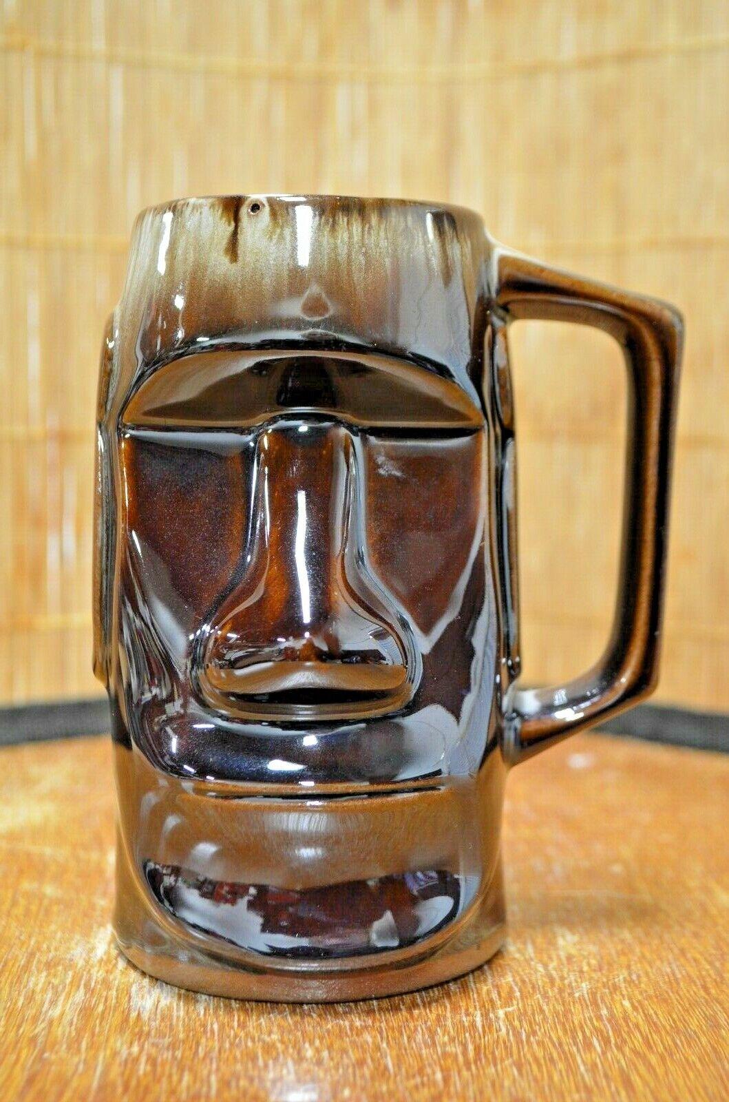 Vintage Gloss Brown Handled Moai Tiki Mug Made in Japan