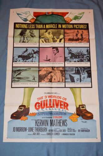 """Vintage Movie Poster, """"The 3 Worlds of Gulliver"""" (1960)"""