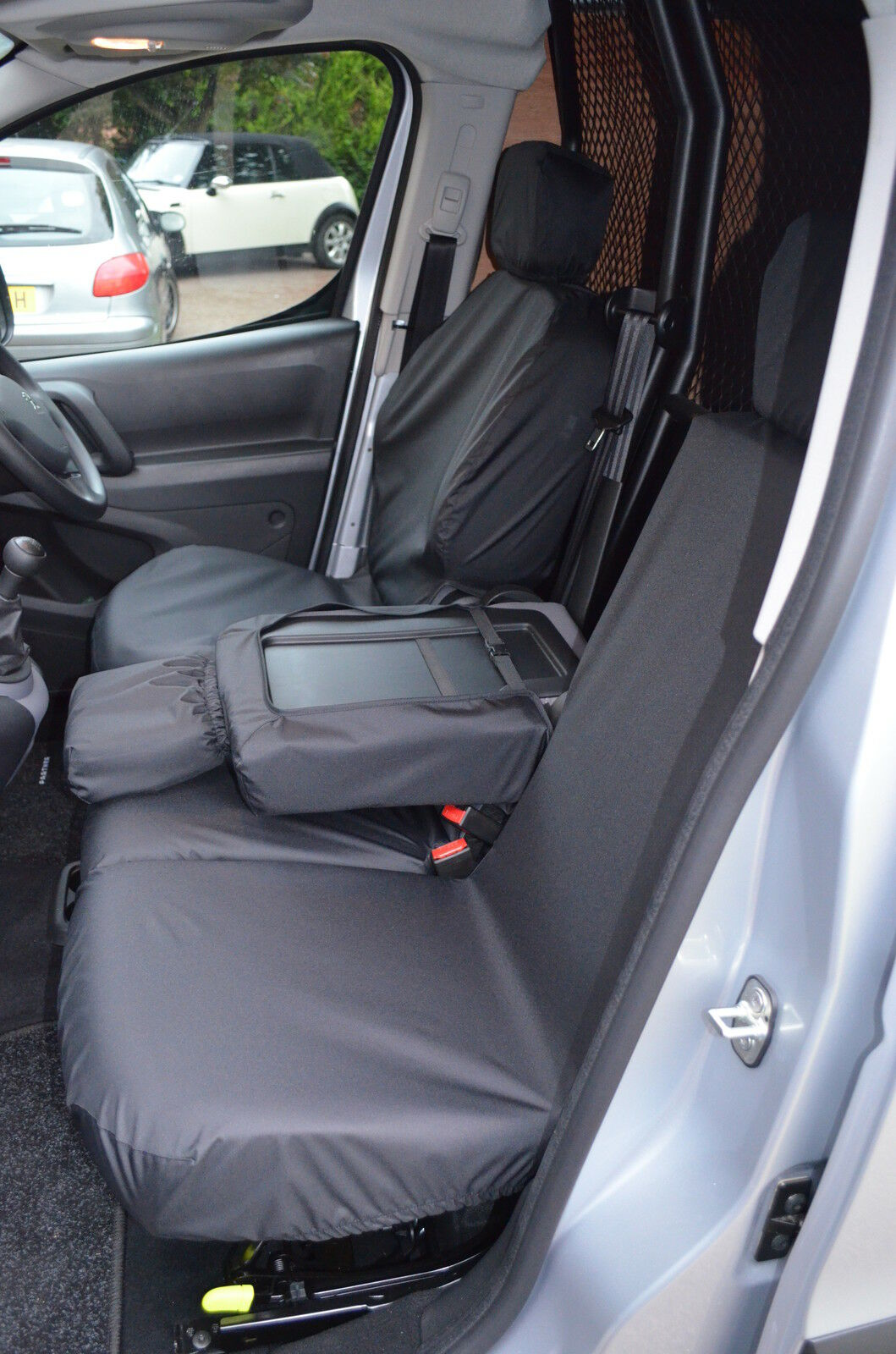 peugeot partner van 2008 tailored waterproof front triple 3 black seat covers ebay. Black Bedroom Furniture Sets. Home Design Ideas