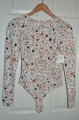 Free People  Sz S Long Sleeve Bodysuit Ivory Multi Stars NWT $68