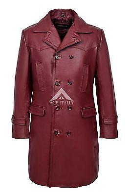 Men's 'WW2 GERMAN ' CHERRY ANILINE Cowhide Leather Marine Jacket Coat U-BOAT