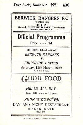 BERWICK RANGERS v Chirnside United, 12th March 1949, Border Cup semi final