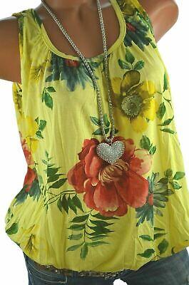 ITALY Buntes TOP Hawaii Blumen Print Shirt Ballon Bluse GELB BUNT 38 40 42 NEU
