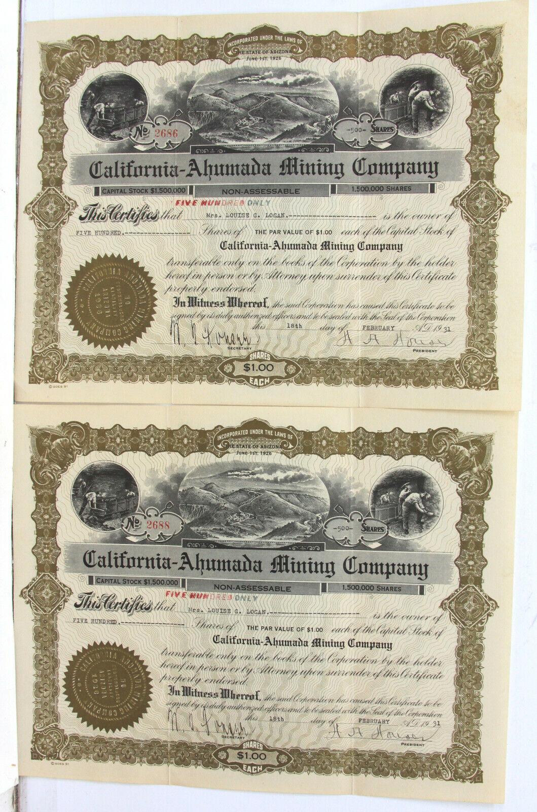 Lot of 5 1931 California-Ahumada Mining Company (AZ) Stocks 200-500 Shares